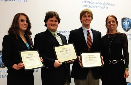 2012 Addiction Science Award winners from left: L. Elisabeth Burton, Benjamin Jake Kornick, John Edward Solder, and NIDA's Dr. Susan Weiss