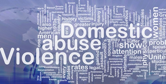 Words associated with domestic abuse and violence on blue background.