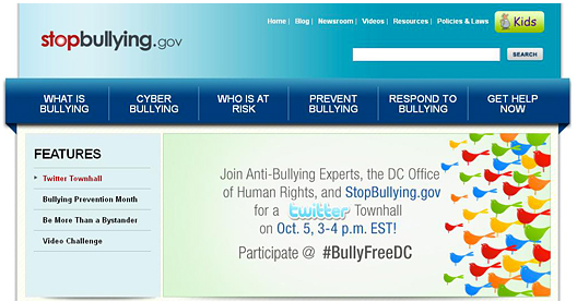Building public engagement on Bullying Prevention by promoting Twitter Townhalls on the homepage of StopBullying.gov