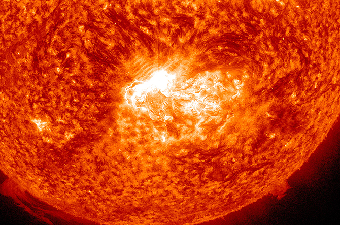 SDO's view of X1.4 class solar flare in the 304 wavelength.