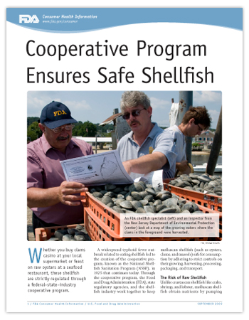 PDF of this article including a photo of an FDA shellfish specialists and NJ inspector on a dock with baskets of clams reading a map of the clam harvesting waters.