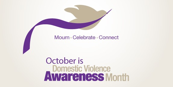 Picture of dove with purple ribbon, text says Mourn, Celebrate, Connect