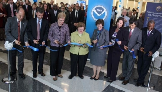 Image of Senator Mikulski and others at the grand opening of NOAA.