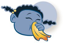 Cartoon girl blow her nose