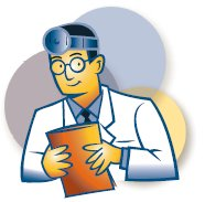 Cartoon doctor holding a clip board