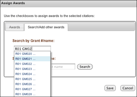 Screen capture of Auto-complete in Assign Awards window