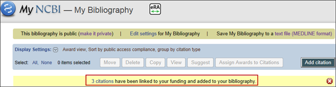 Screen capture of Alert message for new citations added based on funding information
