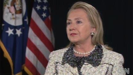 Date: 10/15/2012 Description: Screenshot of Secretary Clinton being interviewed by CNN.  © CNN screenshot/image
