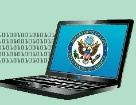 Date: 08/01/2012 Description: binary code and open laptop with Department seal - State Dept Image