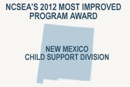 Graphic of the State of New Mexico with title NCSEAs 2012 Most Improved Program Award