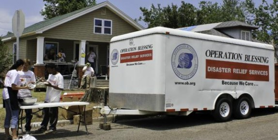 People helping with disaster relief