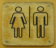 Photo of a bathroom sign showing the symbols for male and female