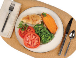 photo of dinner plate with vegetables