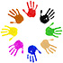 a circle of different colored hand prints icon