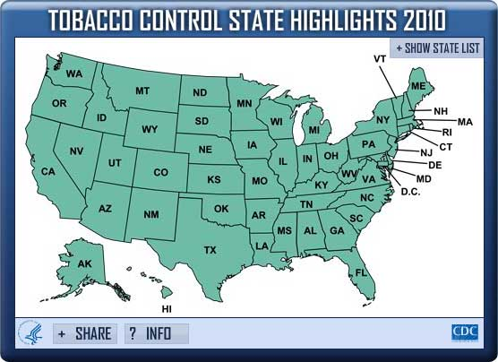 Tobacco Control State Highlights 2010 Widget. Flash Player 9 is required.