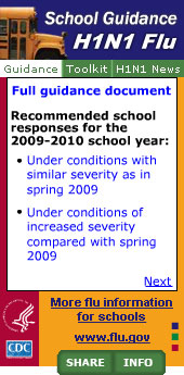 H1N1 School Guidance Widget Widget. Flash Player 9 is required.