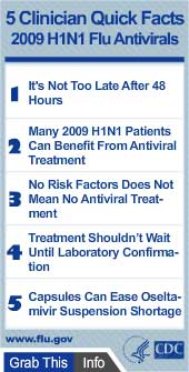 5 Clinician Quick Facts for 2009 H1N1 Flu Antivirals Widget. Flash Player 9 is required.