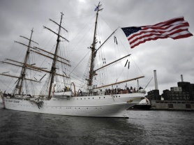 Image of Coast Guard Cutter Eagle, a 1,800-ton steel hull, three-masted sailing ship.