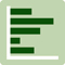 A green icon of a horizontal bar chart.