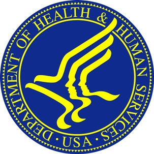 HHS seal, blue and gold