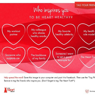 Photo: Who inspires you to be heart healthy? Download this image and post it, tag your friends, and tag us too!