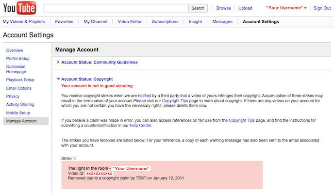 Screen shot of a copyright strike message on Manage Account page