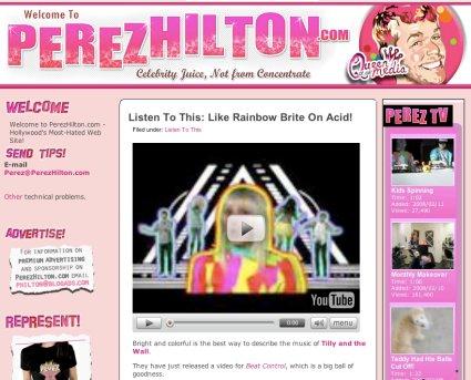 Screenshot of Perez Hilton website