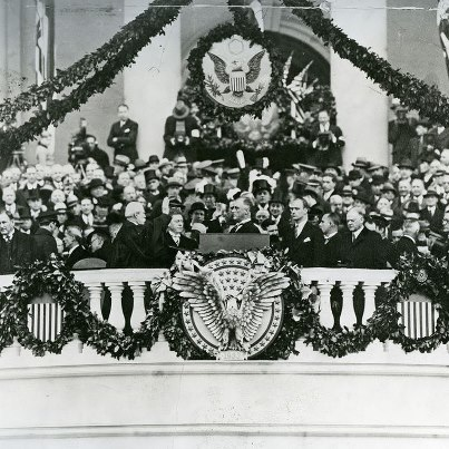 Photo: This inauguration ceremony for Franklin D. Roosevelt was held on March 4, 1933. It was the last ceremony to be held in March. All subsequent inaugurals have been held in January.