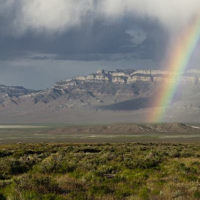 Photo: A rainbow descends into the Great Basin after a spring storm. The Great Basin is the largest terminal basin in the U.S., located in Utah, Nevada, Idaho, and Oregon.