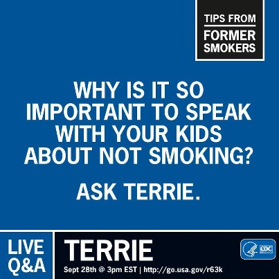 """Photo: """"When they told me that they were going to remove my voice box, I thought I would never speak again."""" Today Terrie, with the help of her electrolarynx, speaks often to young people about the dangers of tobacco use. Join the conversation with Terrie and invite others: http://is.gd/9HgRMF"""