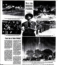 A weekend feature during World War II describes the role of the Border Patrol in the defense of the nation. (Chicago Tribune, January 3, 1943)