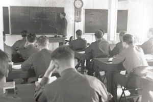 Recruits received classroom instruction and daily physical training at the Border Patrol Academy in the 1930s.