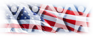 People cutouts with American Flag background