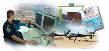 Aerial view of Miami seaport, CBP agent operating a mobile Sea Container X-ray System, An unmanned aerial vehicle, A truck passing though a radiation detection portal, sample machine readable passport