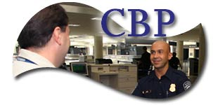 A CBP Officer and a traveler entering the country