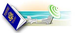 passport and beach scene