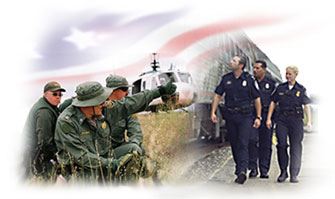 CBP Officers in the field, CBP officers inspecting a cargo train, the american flag