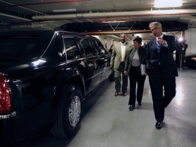 Secretary Napolitano with the presidential limousine