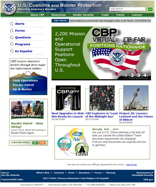 Image of the CBP.gov homepage.