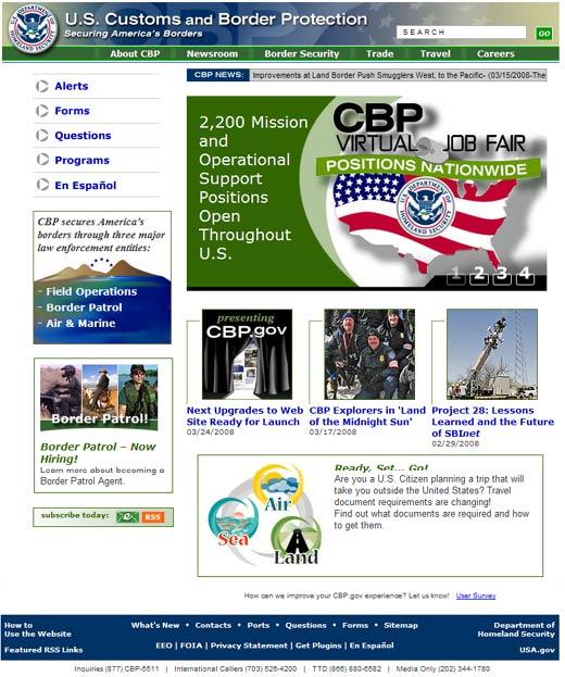 Image of the CBP.gov homepage.