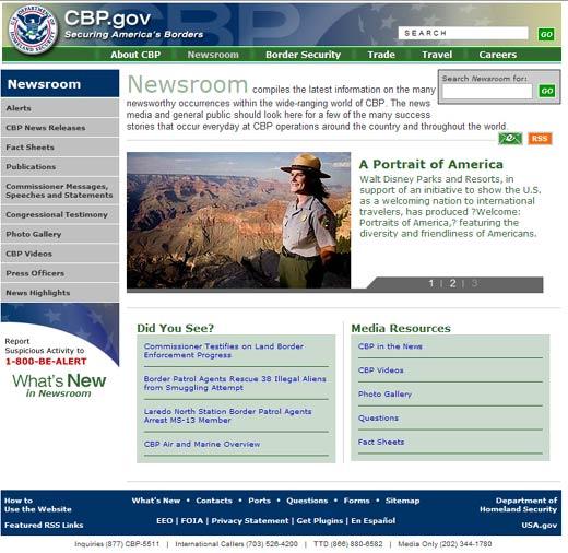 Image of Newsroom Section homepage.