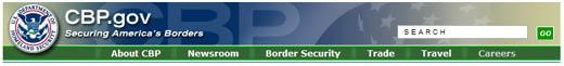 Image of the CBP.gov menu banner.