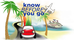 know before you go - car on palm-lined road with surfboards, ship in ocean, plane in air.