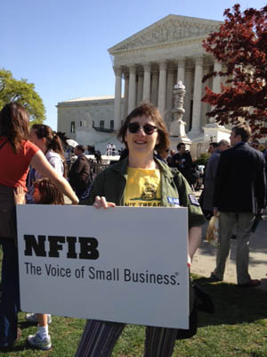 Stephanie Cater, business owner and NFIB member, outside the Supreme Court.
