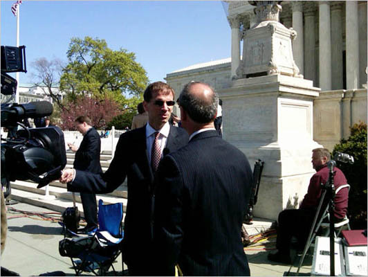 Attorney Gregory Kastas is interviewed after the first day of oral arguments.