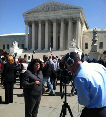 NFIB's Karen Harned is interviewed outside the Supreme Court.