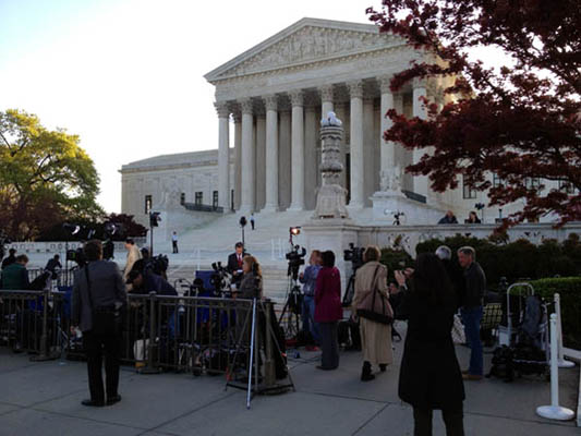 The national media line up early at the Supreme Court