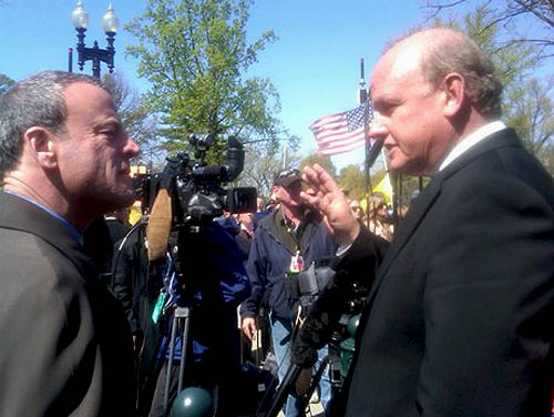 Attorney Carvin is interviewed outside the Supreme Court