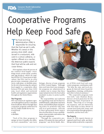 PDF of this article including a photo of milk jug, bag of groceries, clams, and a waitress with bread on a tray.