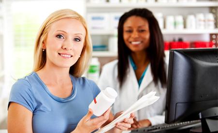 Woman talking to a female pharmacist